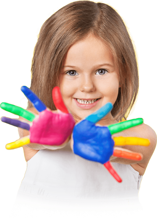 Child with paint on the palms of her hands