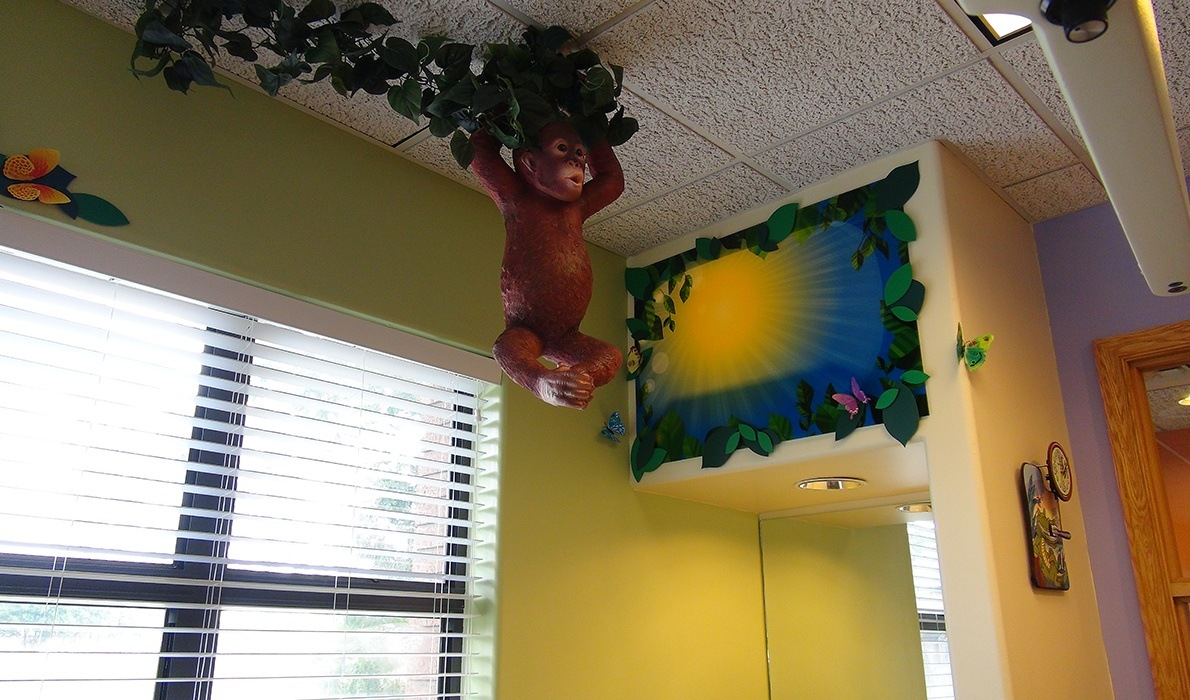 Monkey decoration in dental treatment room