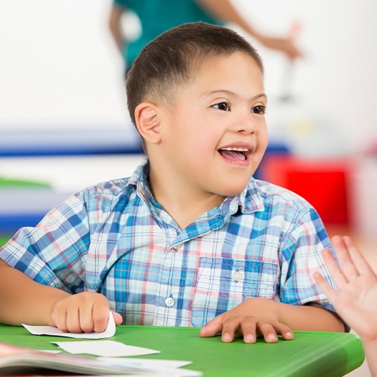 Smiling child in classroom
